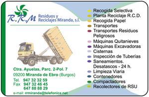 R.R.M. RESIDUOS Y RECICLAJES MIRANDA, S.L.